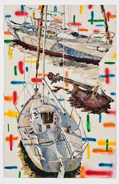 "Simpatico   . Roger Kizik, 2011.   40"" x 26"", watercolor, acrylic, on paper"