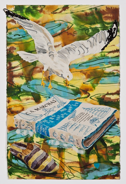 """Sailing Theory and Practice  . Roger Kizik, 2011.   40"""" x 26"""", mixed media  SOLD"""