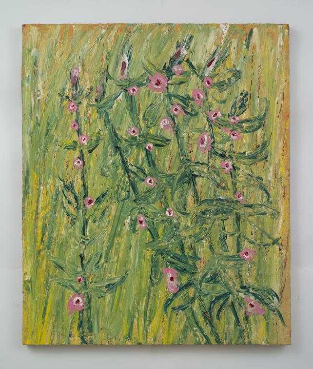 """Hollyhocks  , Charles Miller, 2010.    36"""" x 30"""",oil on linen."""