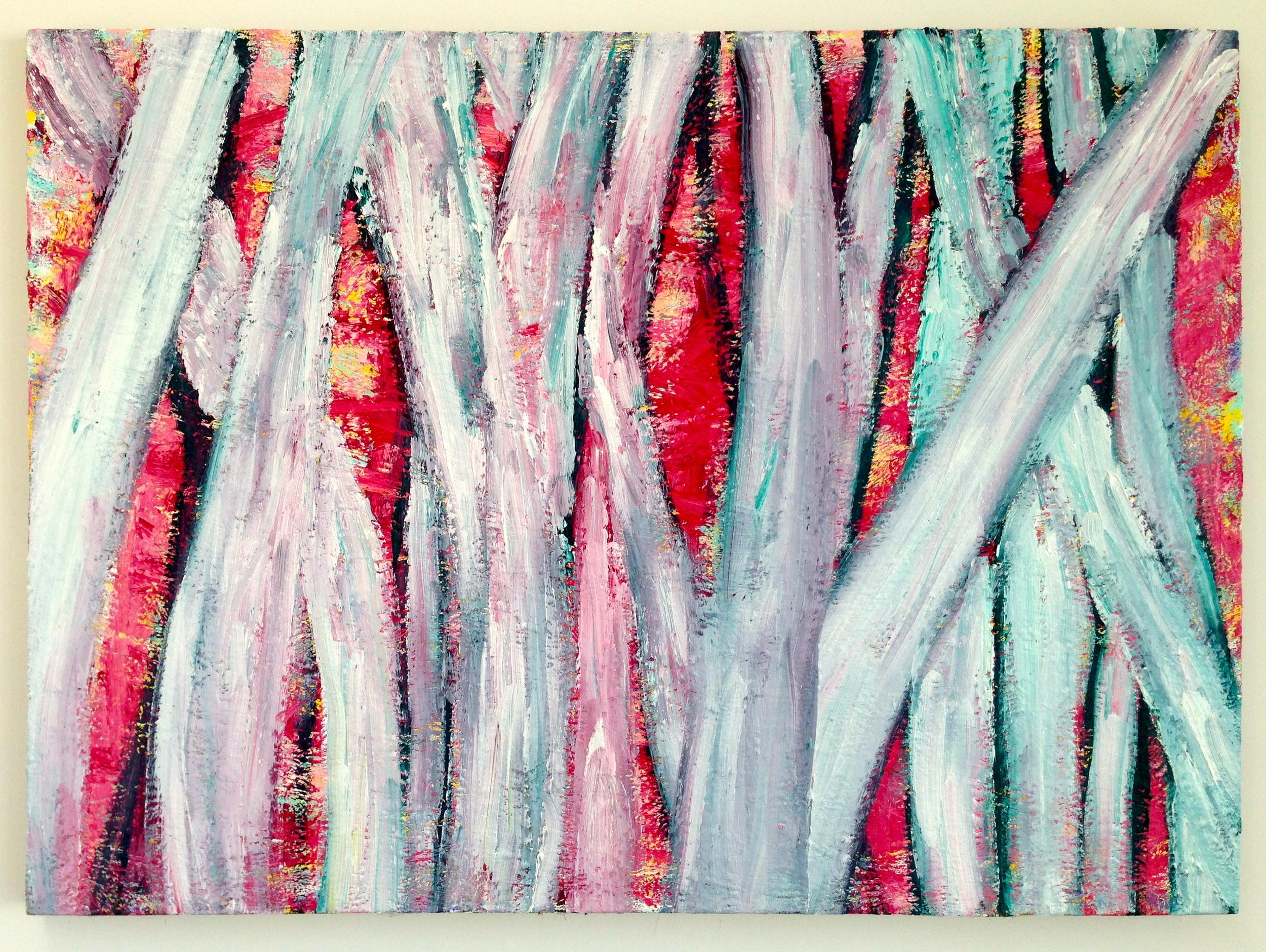 """Birch Trees  , Charles Miller. 2012.  40"""" x 55"""",oil on linen."""