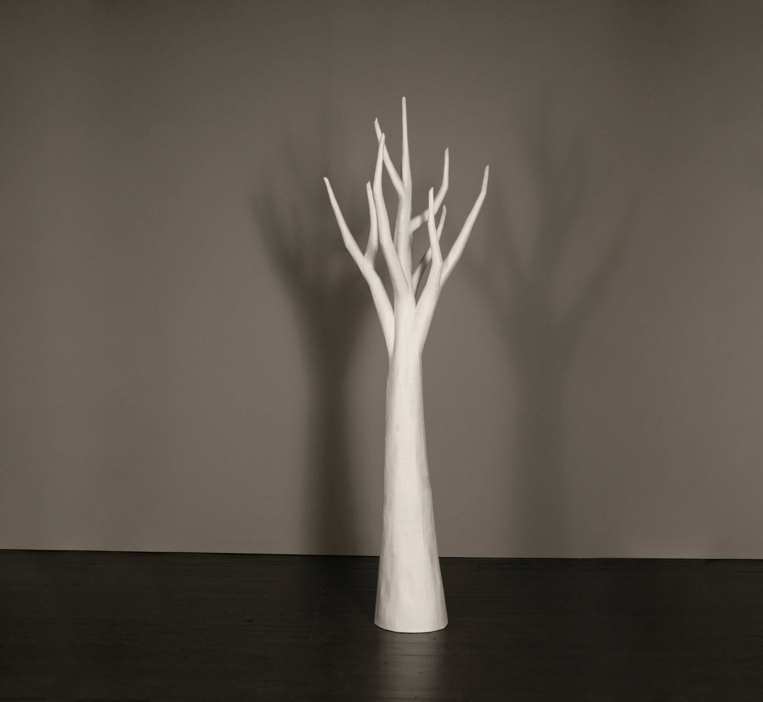 Tall White Papier-Mache Tree,   Joan Backes  9' x 4',  papier-mâché