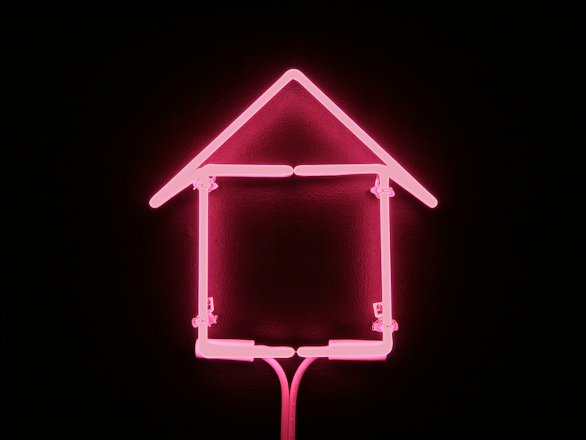 "Pink Neon,   Joan Backes  12"" x 12"", Neon Tubing   Sold"