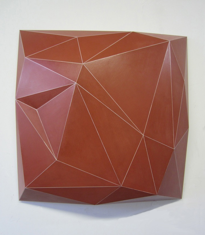 """Dimple  Joshua Enck  8.5""""x33""""x33"""" wood and paint 2012"""