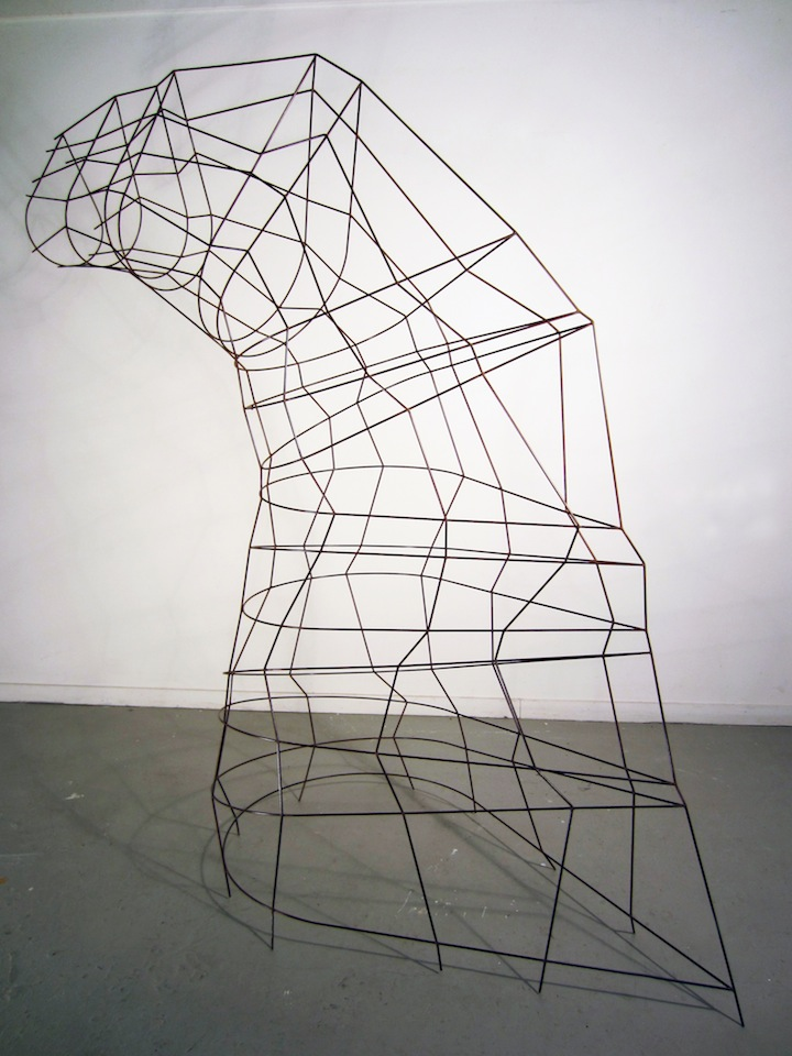 "Meander  Joshua Enck  76""x29""x79"" welded steel and patina 2011"