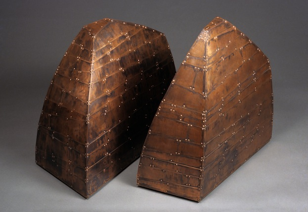 "Hewn Tell and Abutment Clad,  Joshua Enck  25""x15""x26"" and 23""x14""x26"", copper, copper nails, patina 2006"