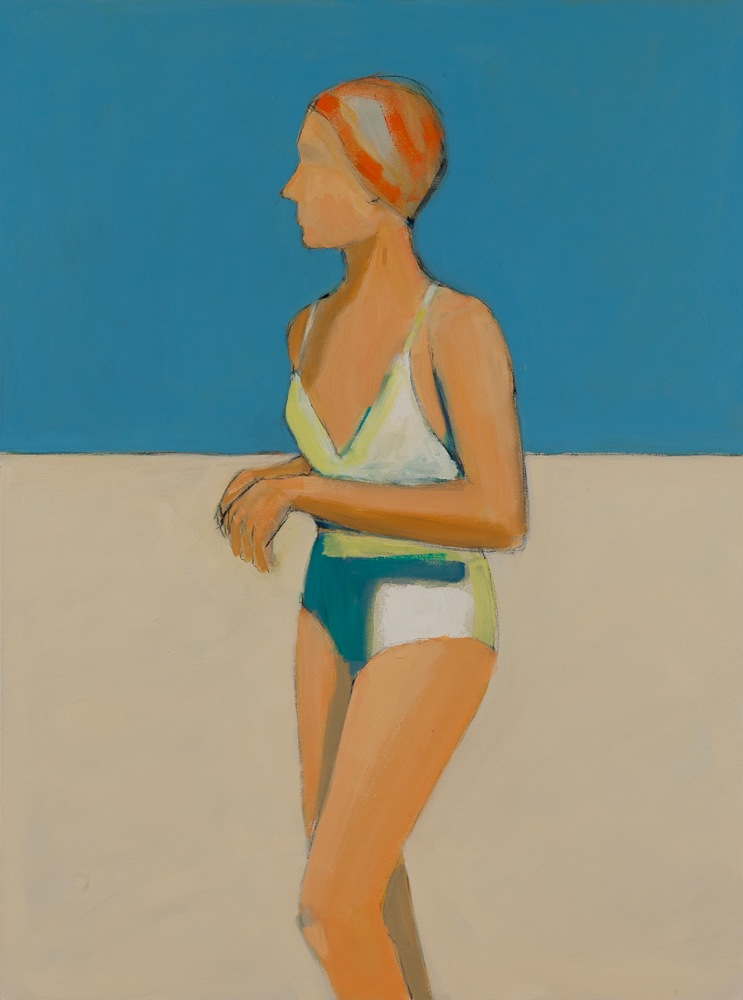 "The Orange Bathing Cap  , Sarah Benham, 2012.   40"" x 30"", Oil on canvas."