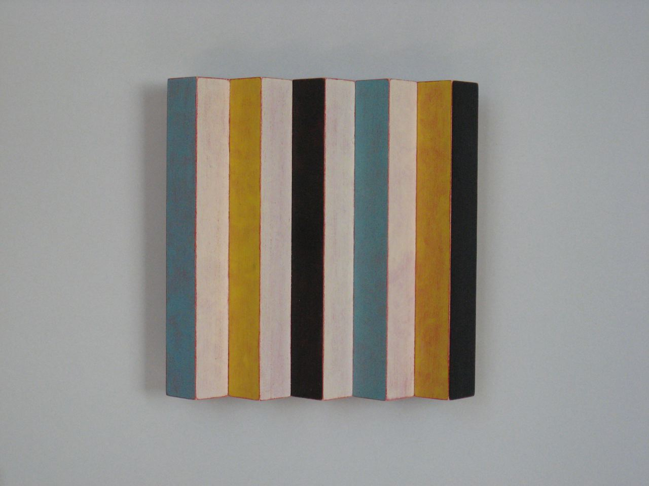 Ozawa, Emi Stripes on a Square maple, acrylic paint 5 1:4x 5 1:4 x 1 2012 $500.jpg