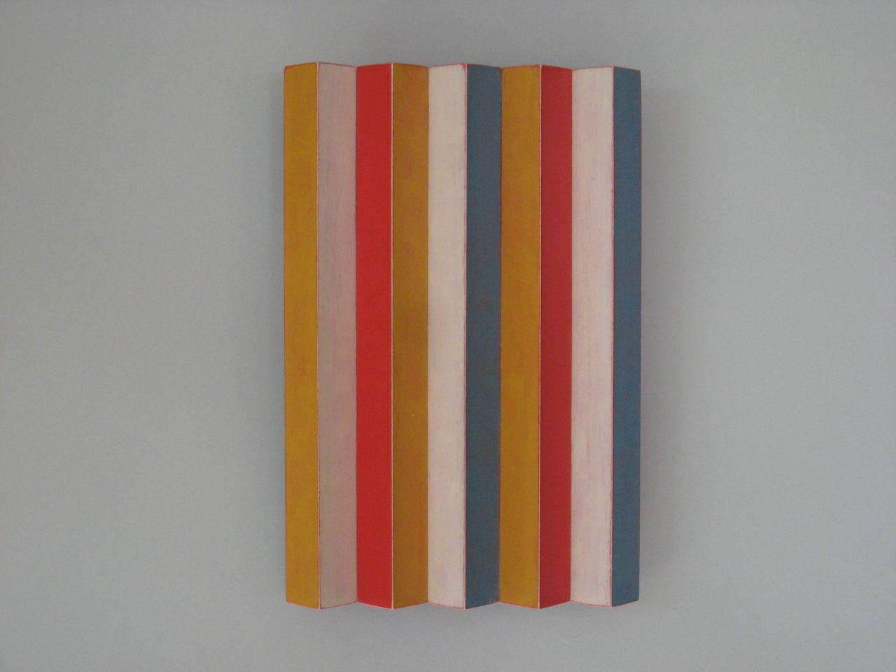 Ozawa, Emi Short Stripes maple, acrylic paint, 6 1:2x4 1:4x 7:8 2012 $500.jpg