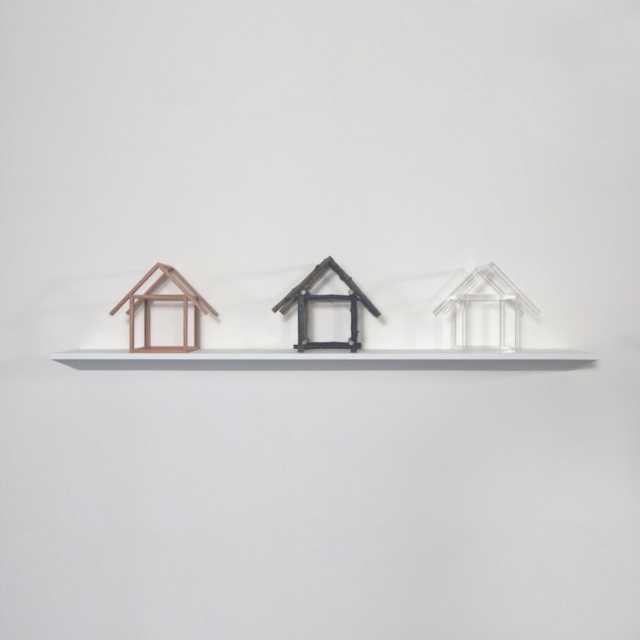 """Oak House, Stick House, Plexi Rod House,  Joan Backes,2012    10"""" x 11"""" x 9""""oak, stick, plexiglass"""