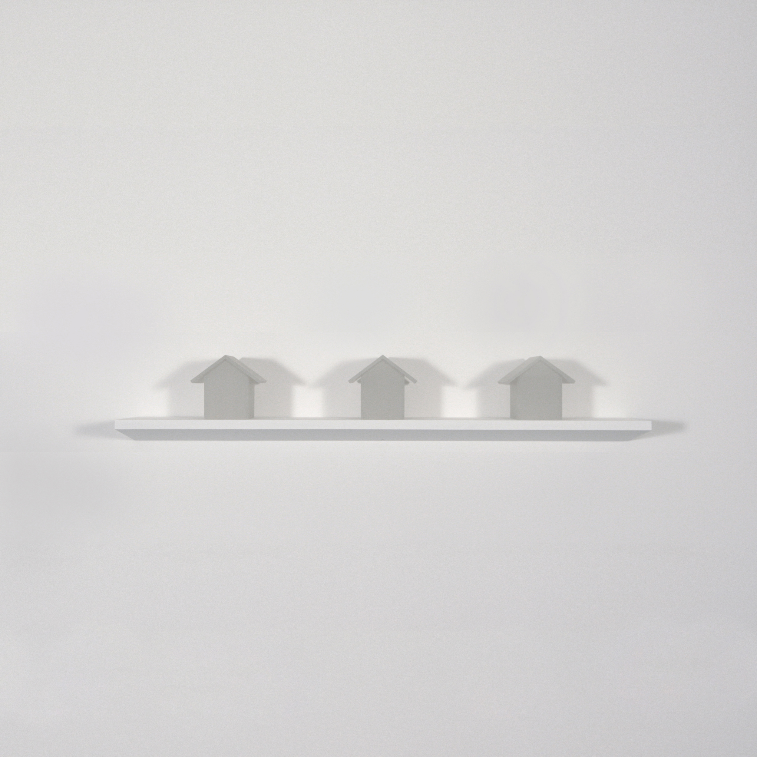 "Three Houses   , Joan Backes, 2012.    4.6"" x 4"" x4"", sand-blasted plexiglas"