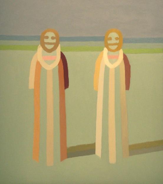 "Two Figures  , John Havens Thornton, 1973  36"" x 32"", oil on canvas  $2200"