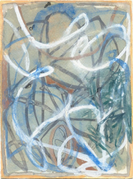 """Waiting to Emerge  , Pat Coomey Thornton.  14.5"""" x 11.5"""", gouache on Fabriano paper"""