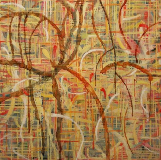 """Three Ways  , Pat Coomey Thornton.  30"""" x 30"""", oil on canvas."""
