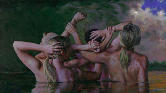 Dark Sky and Swimmers  , Daniel Ludwig  oil on linen