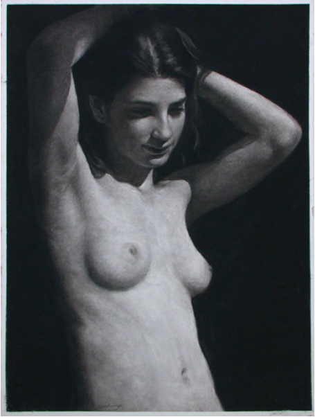 "Woman Raising Arms  , Daniel Ludwig  22"" x 30"", charcoal on paper"
