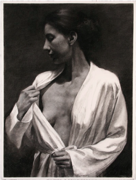 "Woman with White Robe  , Daniel Ludwig  30"" x 22"", charcoal on paper"