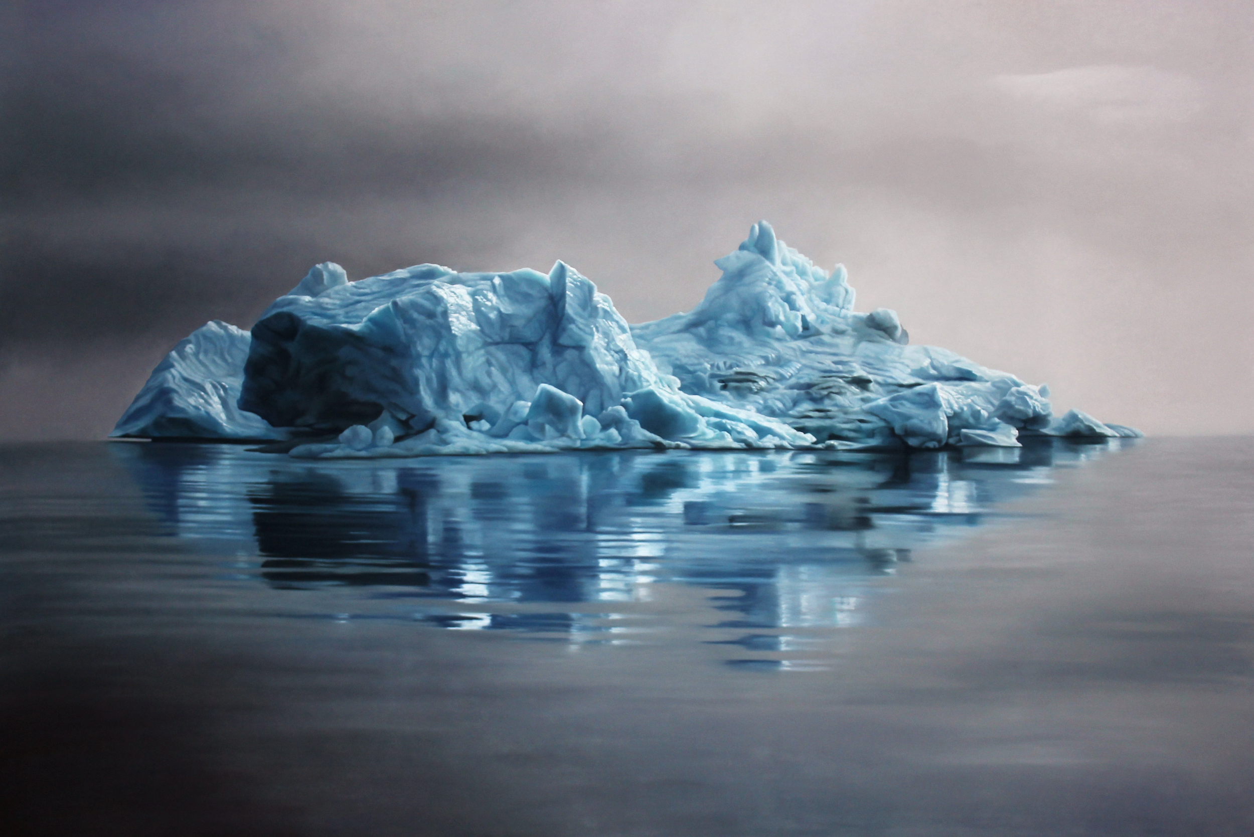"Greenland #62, Zaria Forman.  47"" x 70"" soft pastel on paper.  Sold"