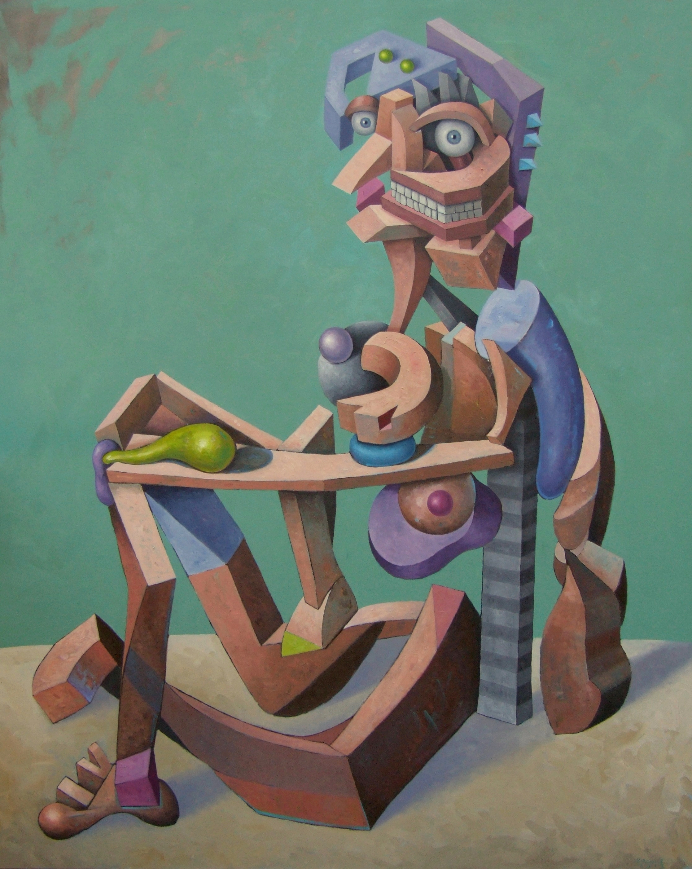 "Seated Bather (after Picasso)  , John Borowicz, 2013.  60"" x 48"", oil on canvas"