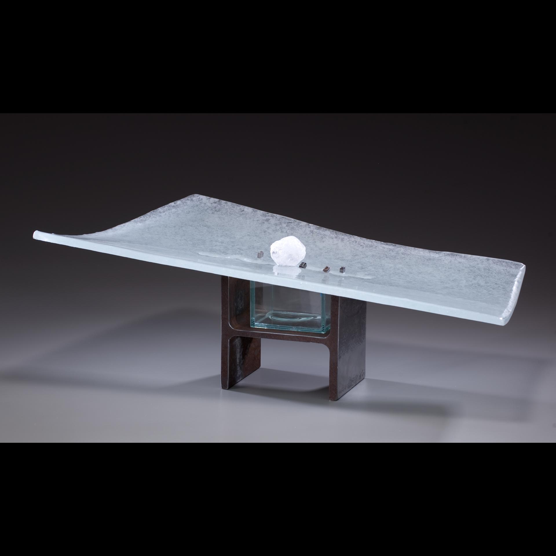 "Tsukubai,   Meris Barreto.  23.5"" x 14"" x 7"",recycled, cast glass, steel support, metal type, snowball."