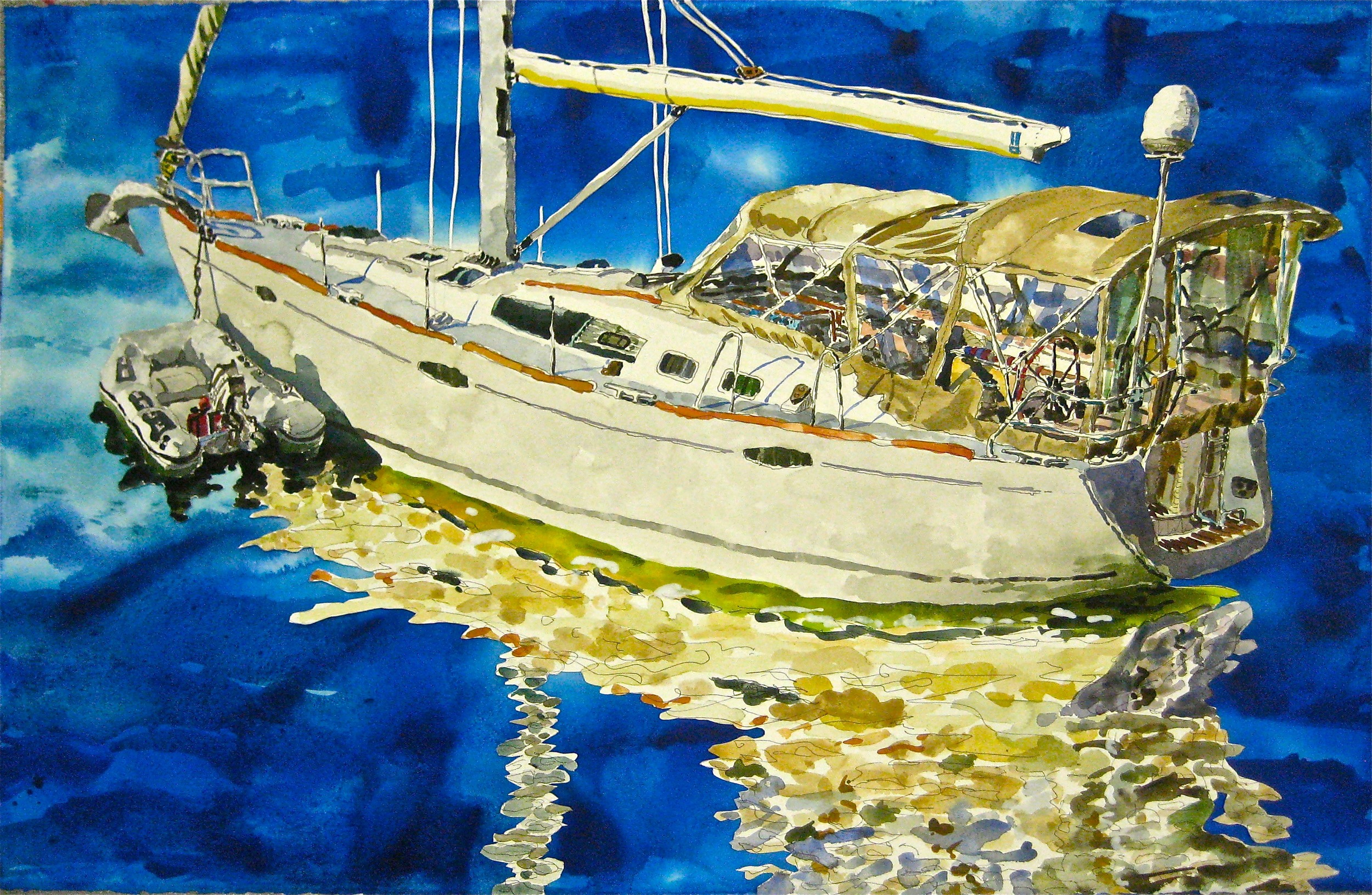 "Beneteau , Roger Kizik, 2011.    29""x40""  watercolor, acrylic, on paper  SOLD"