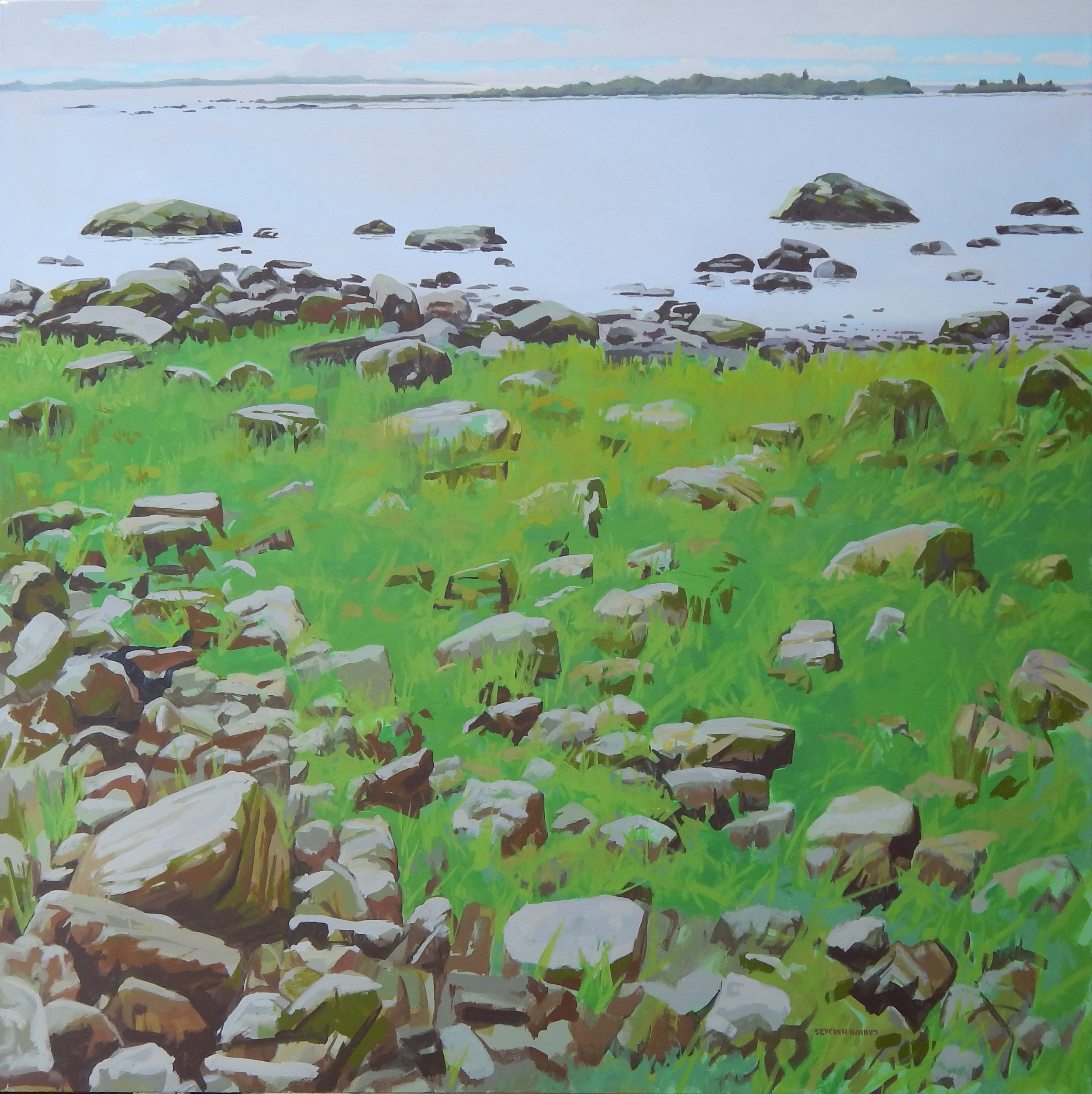 "Beach Grass and Rocks II    ,   Severin Haines.  48""x48"", oil on canvas"