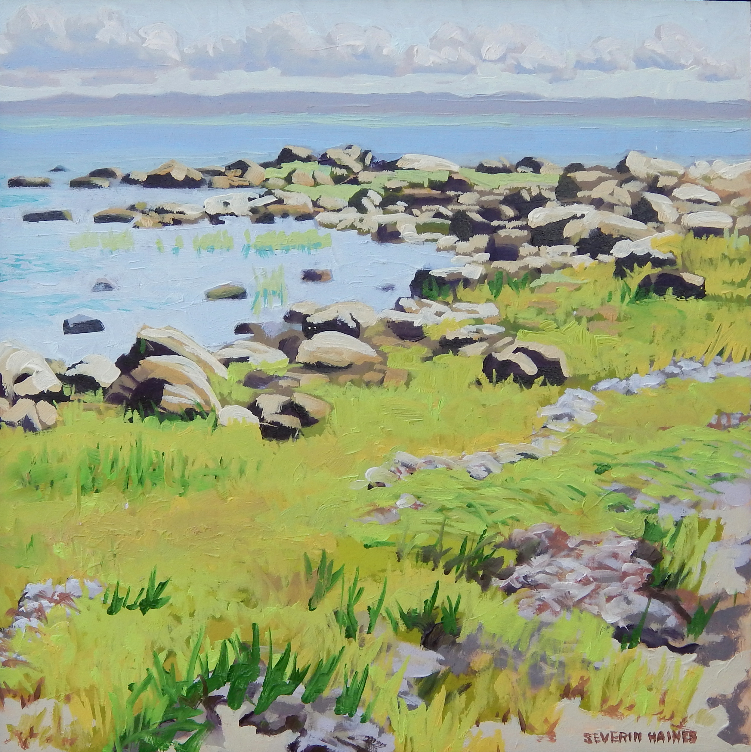 """June on Buzzards Bay I,   Severin Haines.  12""""x12"""", oil on canvas."""