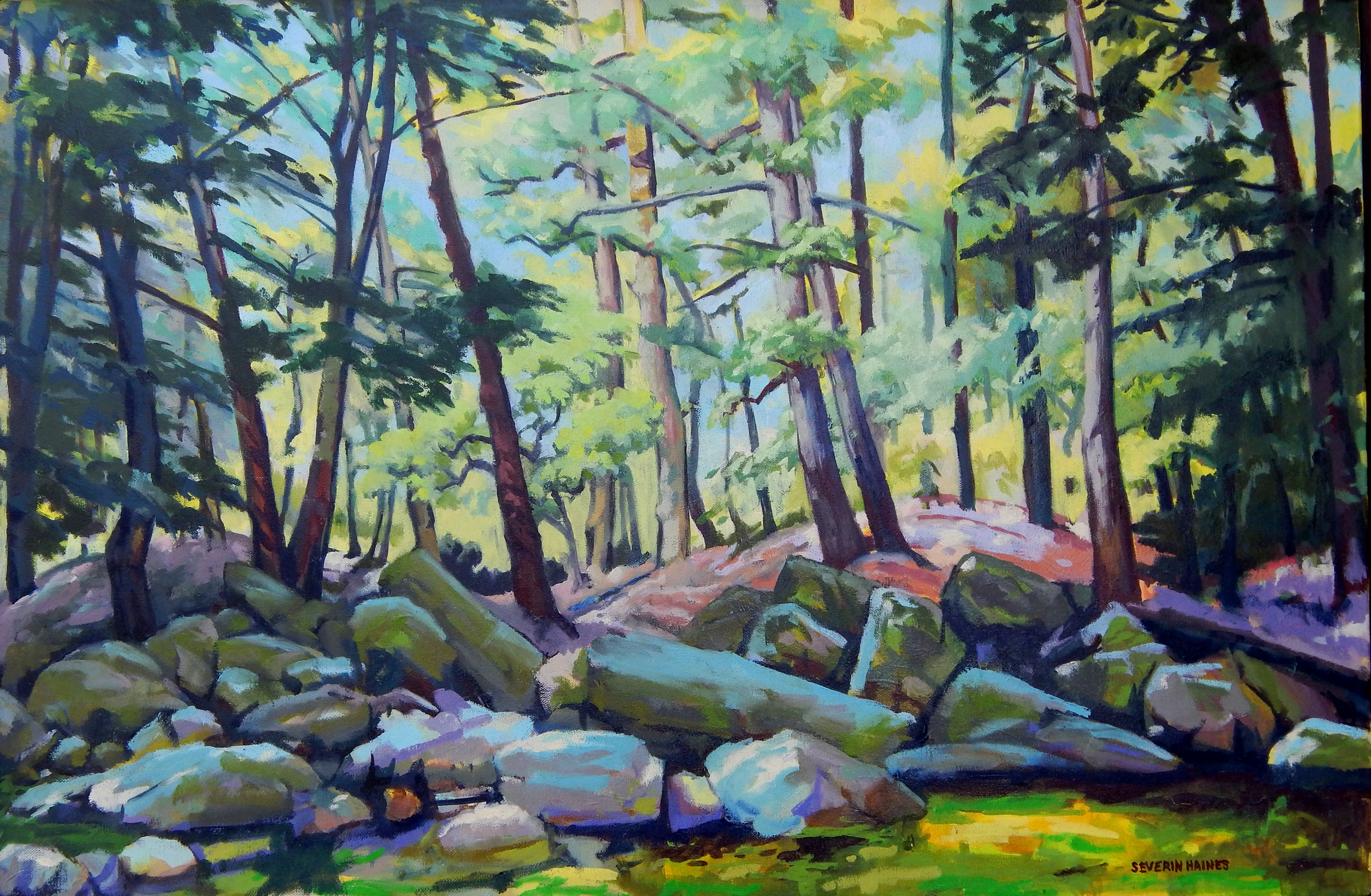 "Stream at Dolly Copp II,   Severin Haines.  72""x40"" oil on canvas"