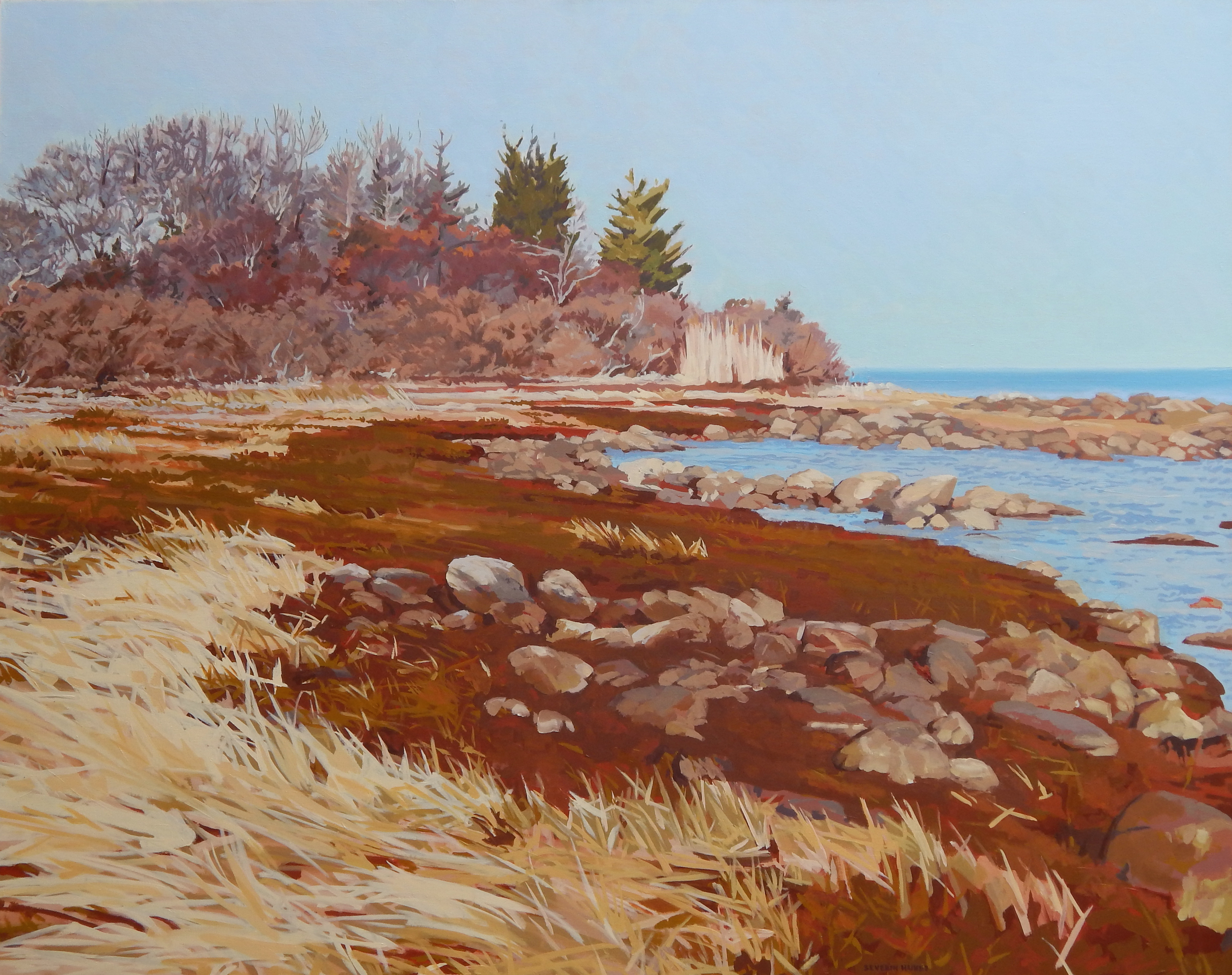 "Sunny Day on a Winter Shore II,   Severin Haines.  48""x60"", oil on canvas"