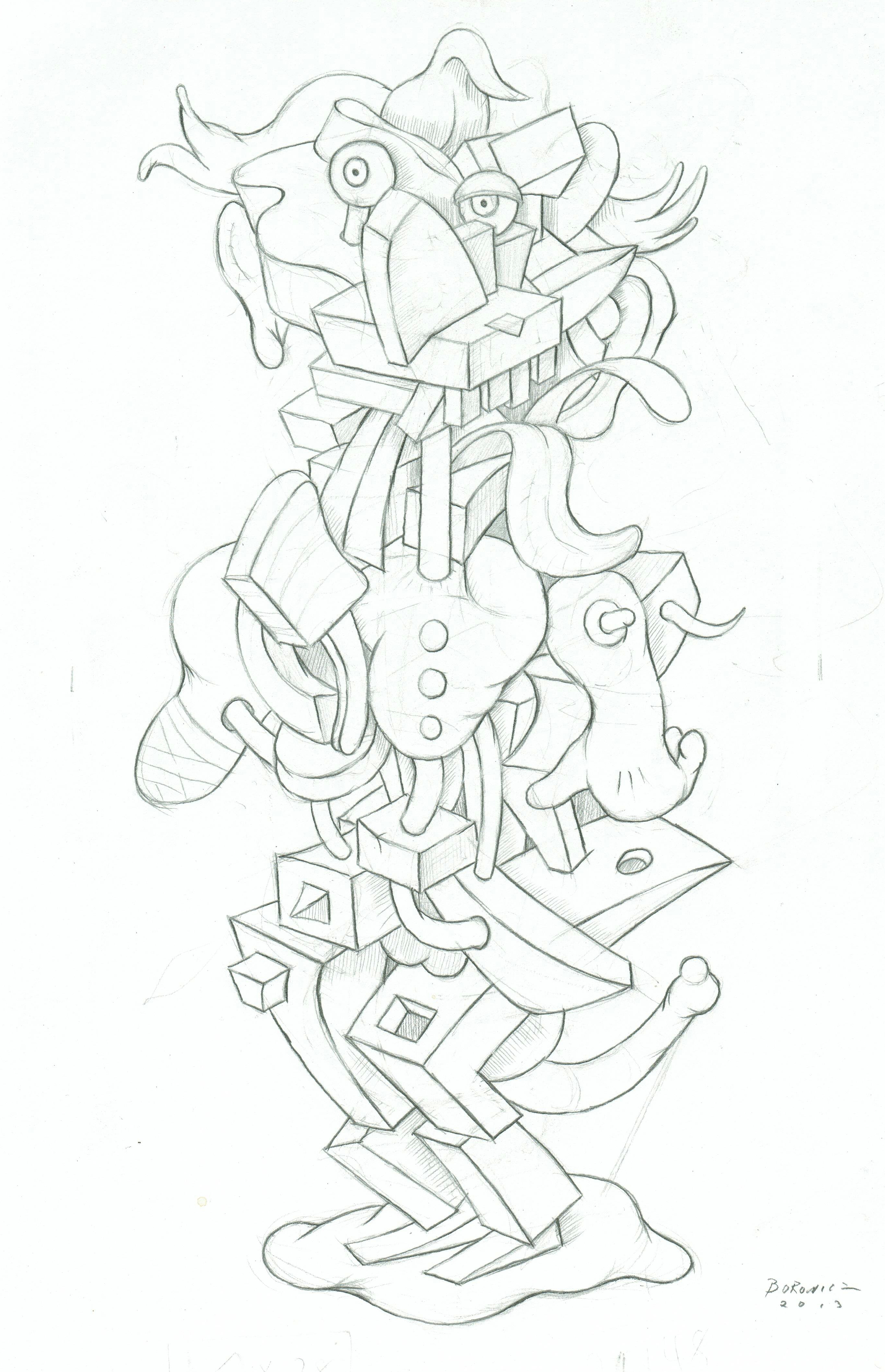 "Study for Automatic Slim   John Borowicz   graphite on paper, 11""x 7.5"" 2013"
