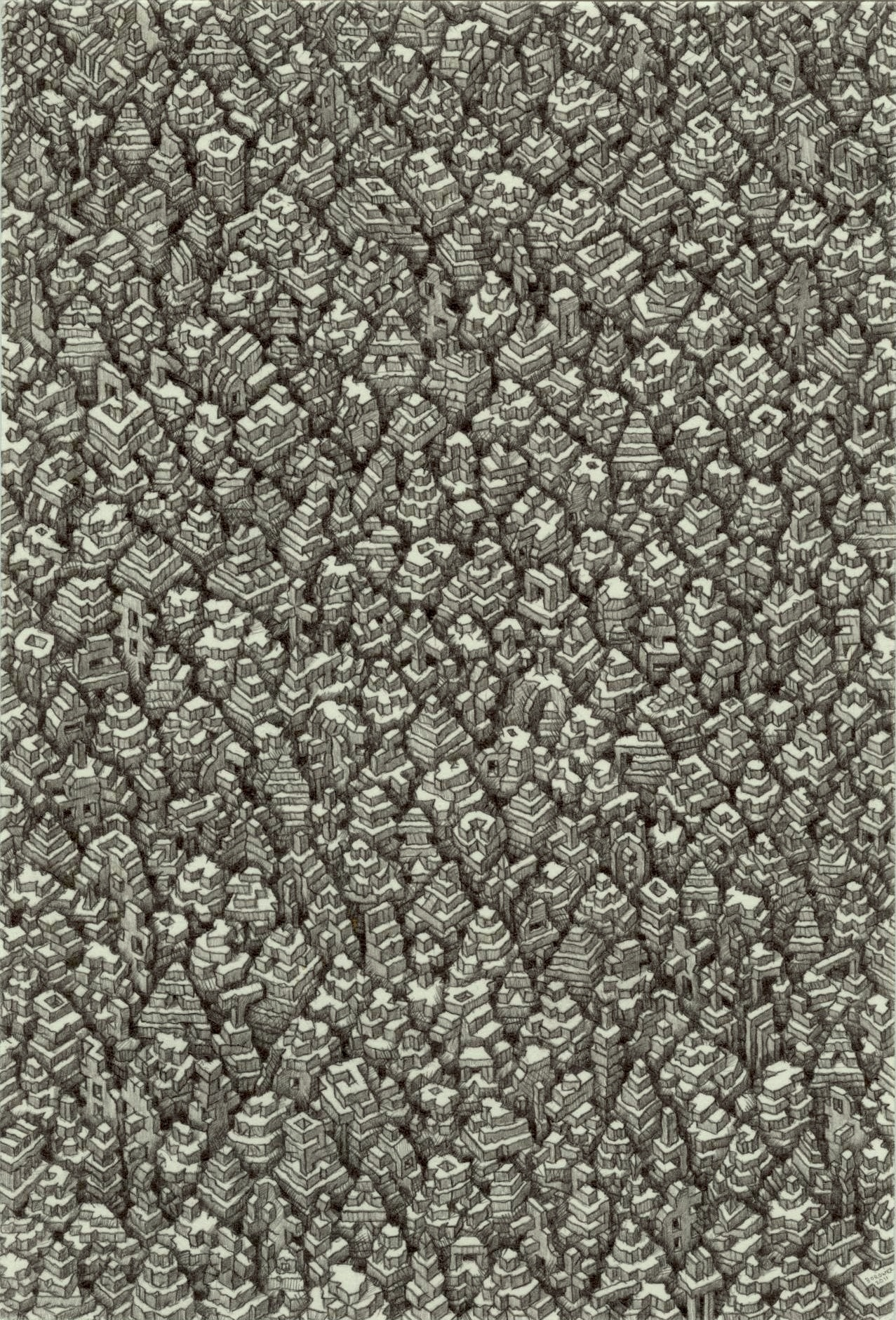 """One Continuous Mistake   John Borowicz   graphite on paper, 6""""x4"""" 2012"""