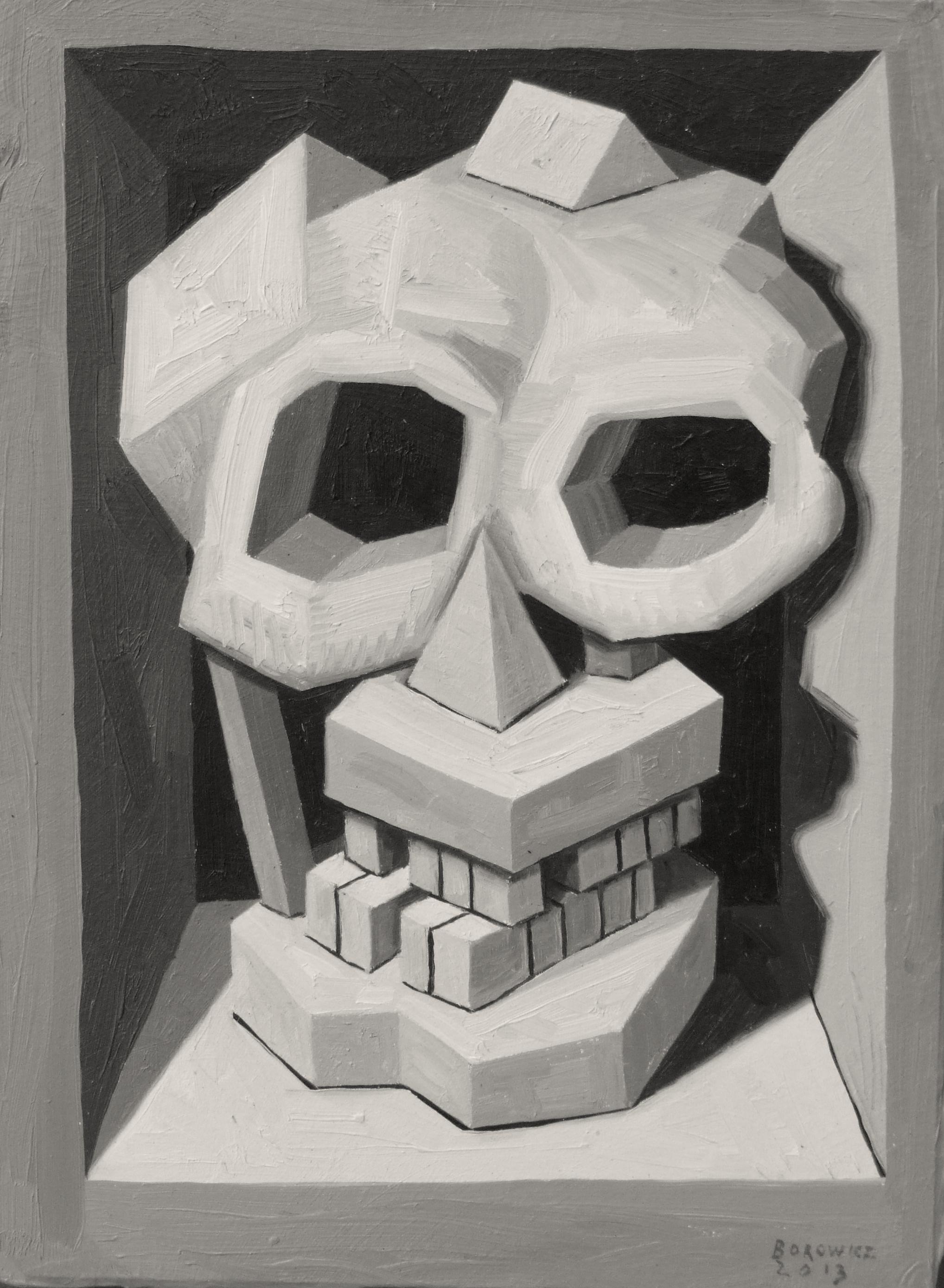 "Skull 1   John Borowicz   oil on panel, 9""x7"" 2013"