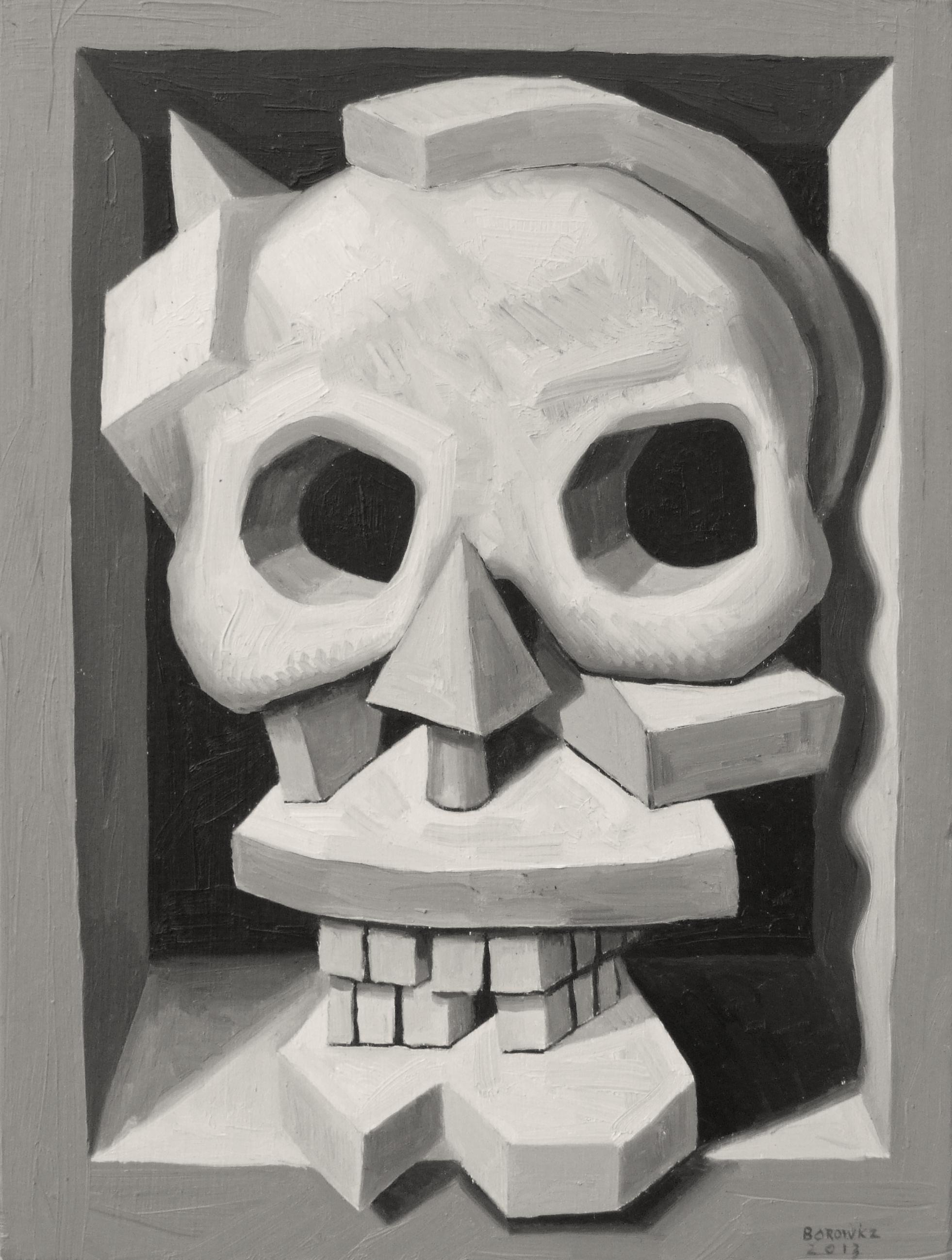"Skull 2   John Borowicz   oil on panel, 9""x7"" 2013"