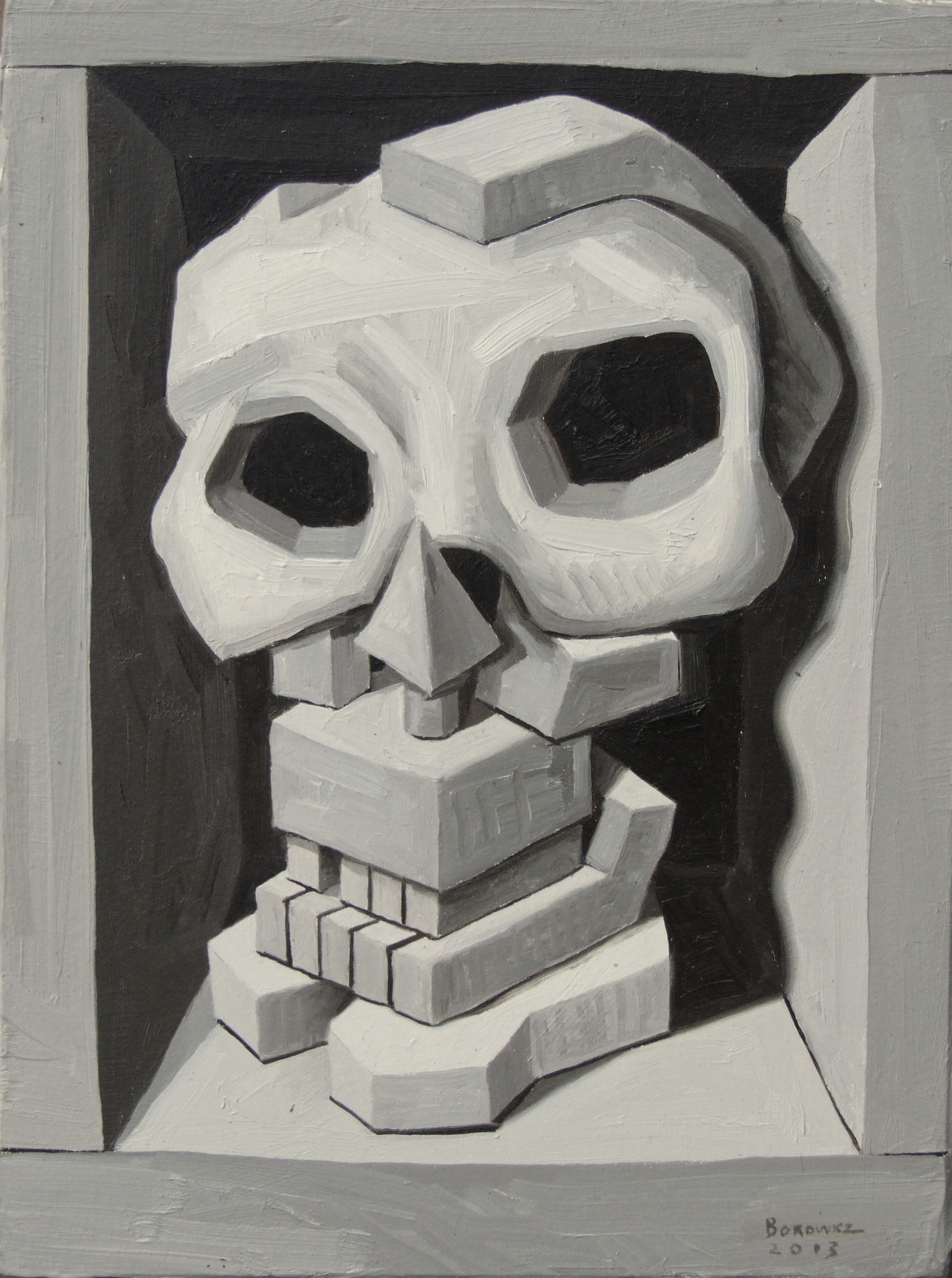 "Skull 3   John Borowicz   oil on panel, 9""x7"" 2013"
