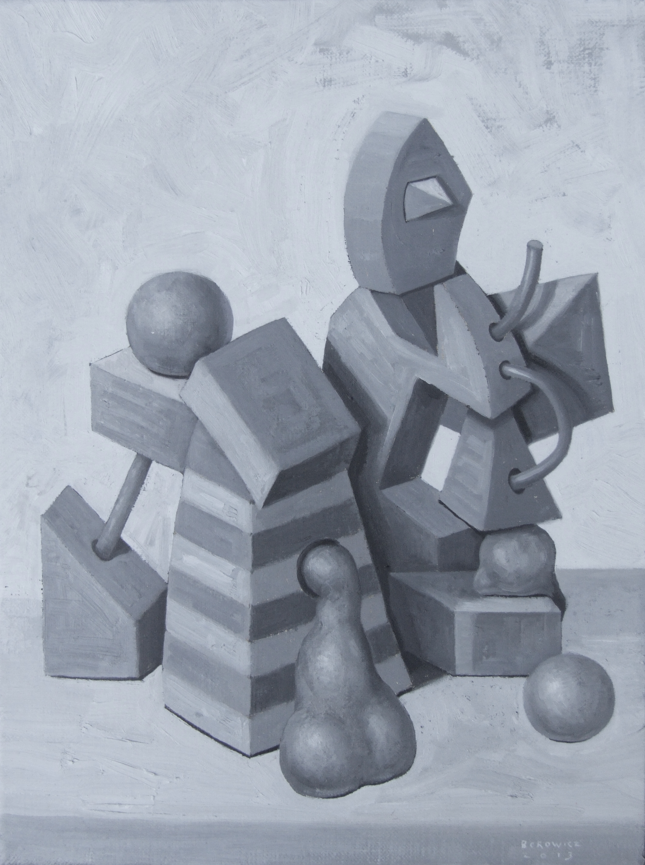 """Still Life With Soft Forms   John Borowicz   oil on canvas, 12""""x9"""" 2013"""