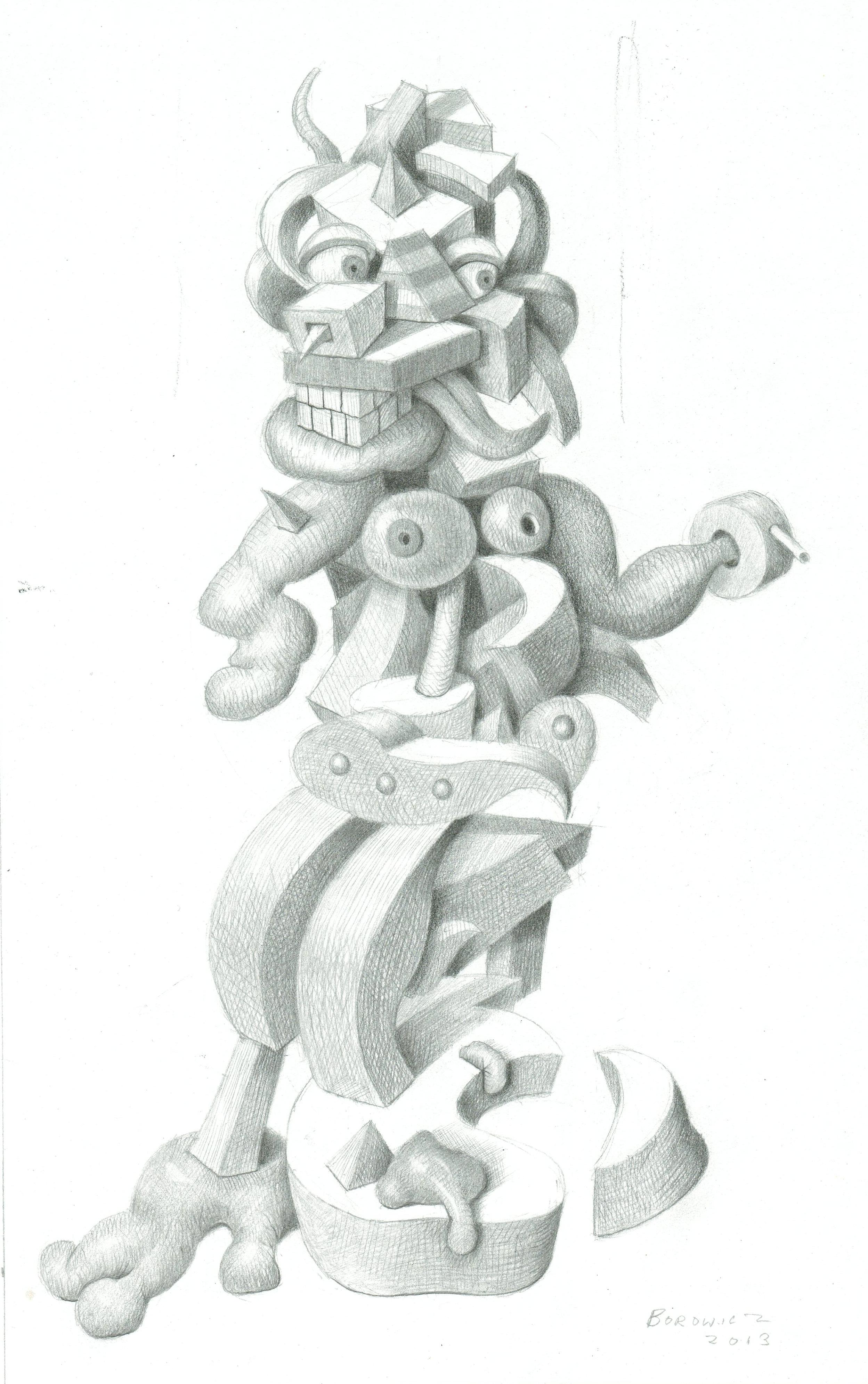 "Study for Fast Talking Fanny   John Borowicz   graphite on paper, 10""x6.25"" 2013"