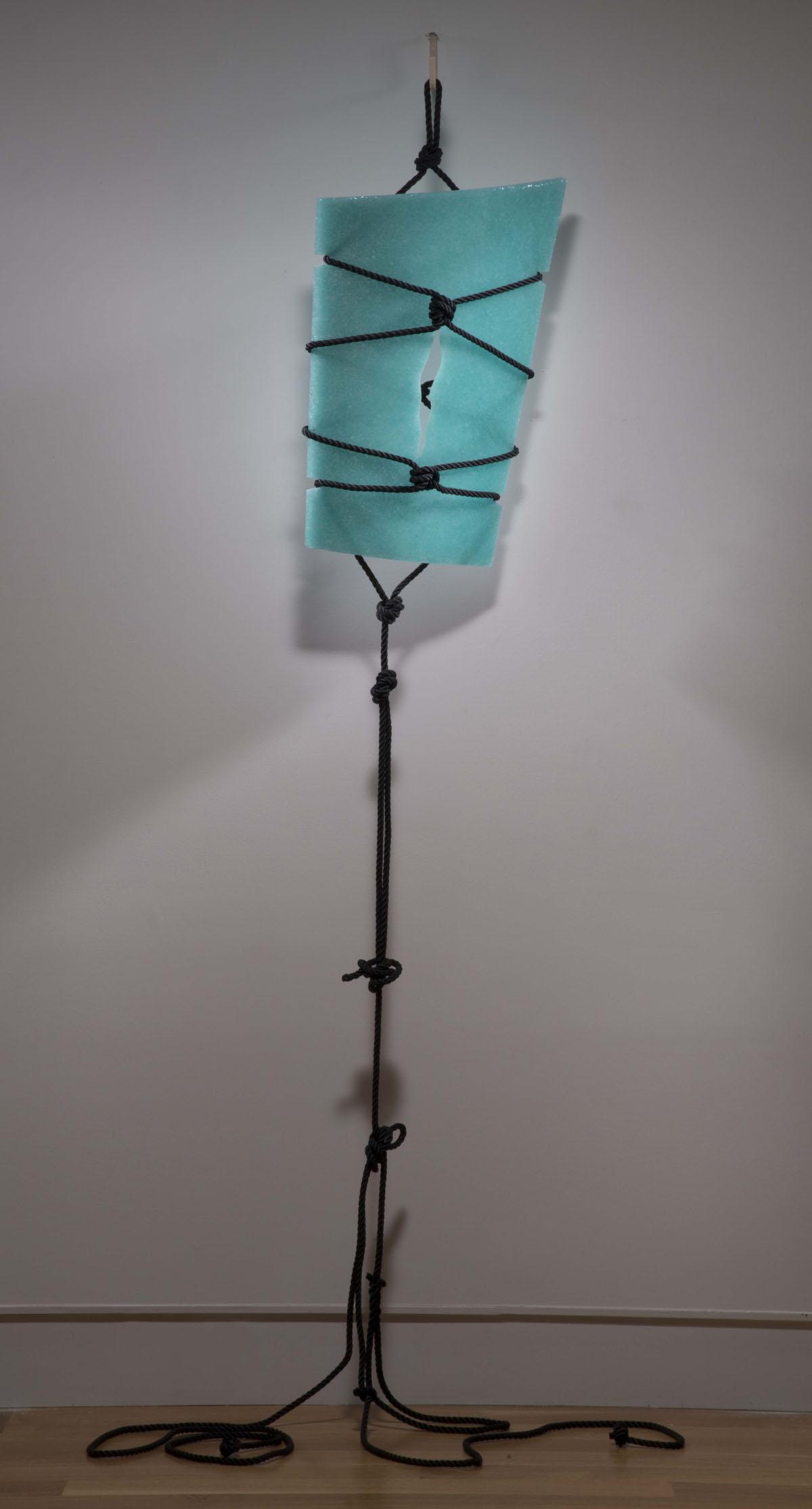 Blue Bend  , Meris Barreto, 2013.  8' x 2', recycled, cast glass, rope