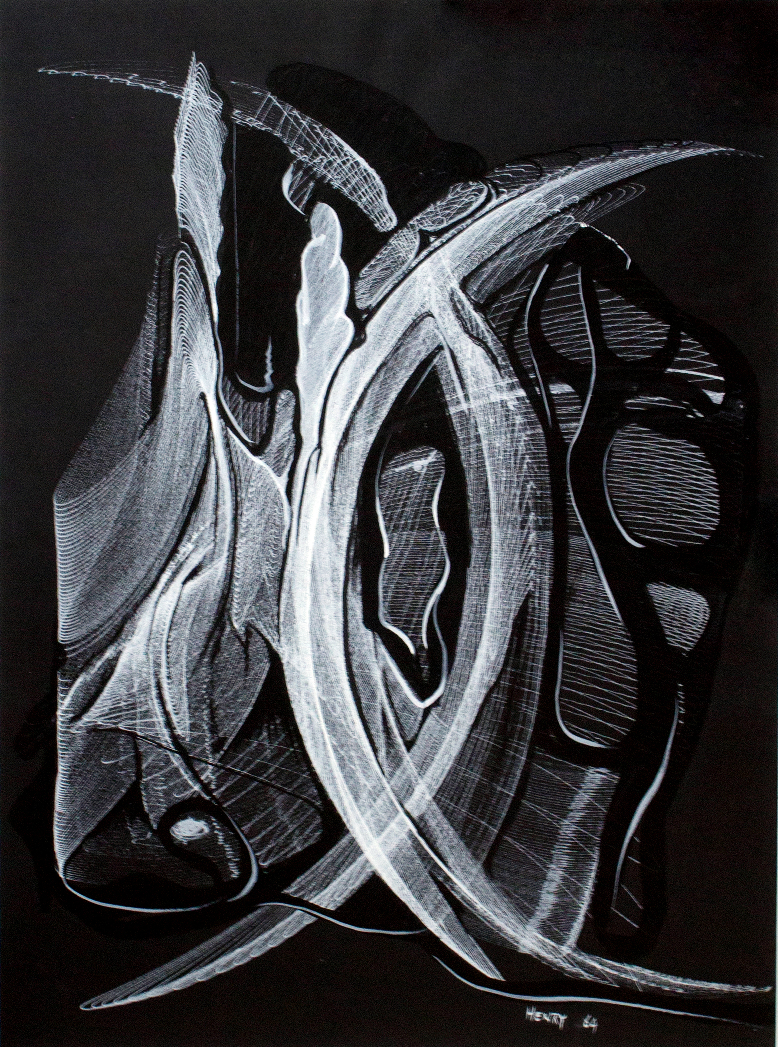 "Desmond Paul Henry  Androbulus, drawing machine, white india ink on black cartridge paper, hand embellishments, 15.35""x20.47"", 1962"