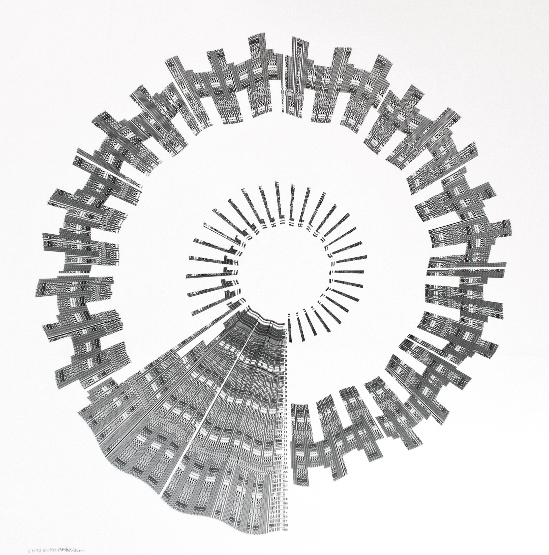 "Mark Wilson  SK92, monochrome plotter drawing on polyester film, 36""x36"", 1992"