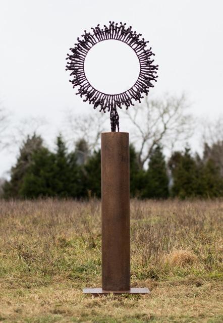"""Ryland's Wheel,  Walter Horak , 2013.  84"""" x 47"""" x 21"""", bronze ed. 1/5"""