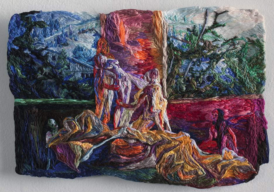 "The Whole Sick Myth     Sophia Narrett, 2013    8.5""x12"" Embroidery thread and fabric"