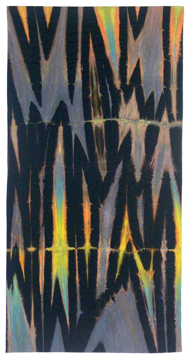 "Fugitive Piece 15     Elin Noble, 2014    24""x47"" Dyed Cotton and Machine Embroidered, itajime shibori"