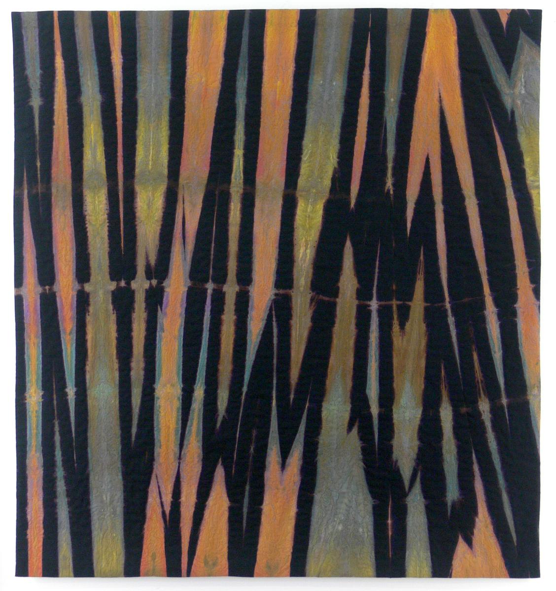 "Fugitive Piece 18     Elin Noble, 2014    43""x47"" Dyed Cotton and Machine Embroidered, itajime shibori"