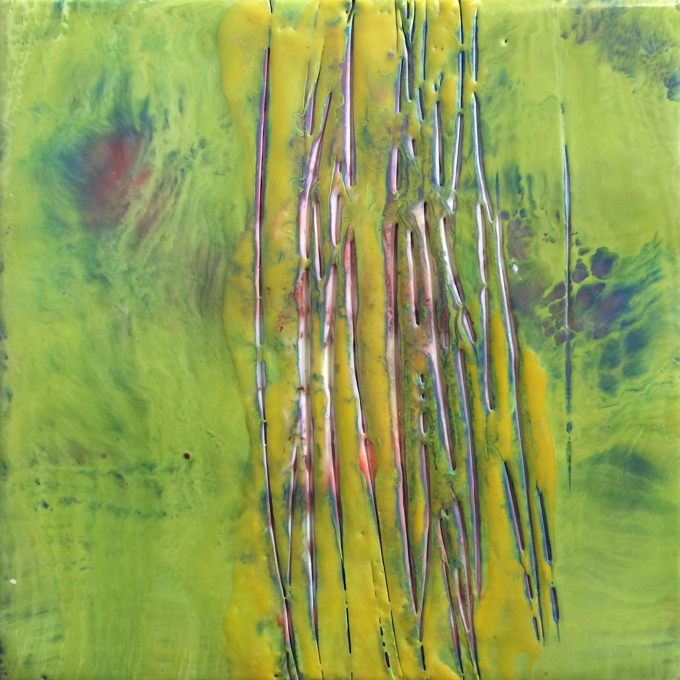 "Sliced     Eck Follen, 2014    8""x 8,"" Encaustic on panel"
