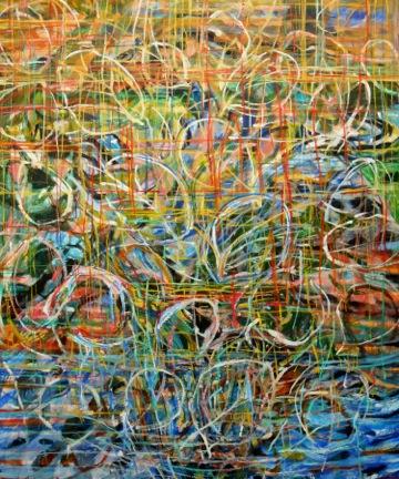 """Pear Petal and Bird Bath     Pat Coomey Thornton, 2014    46""""x40,"""" Oil on canvas"""