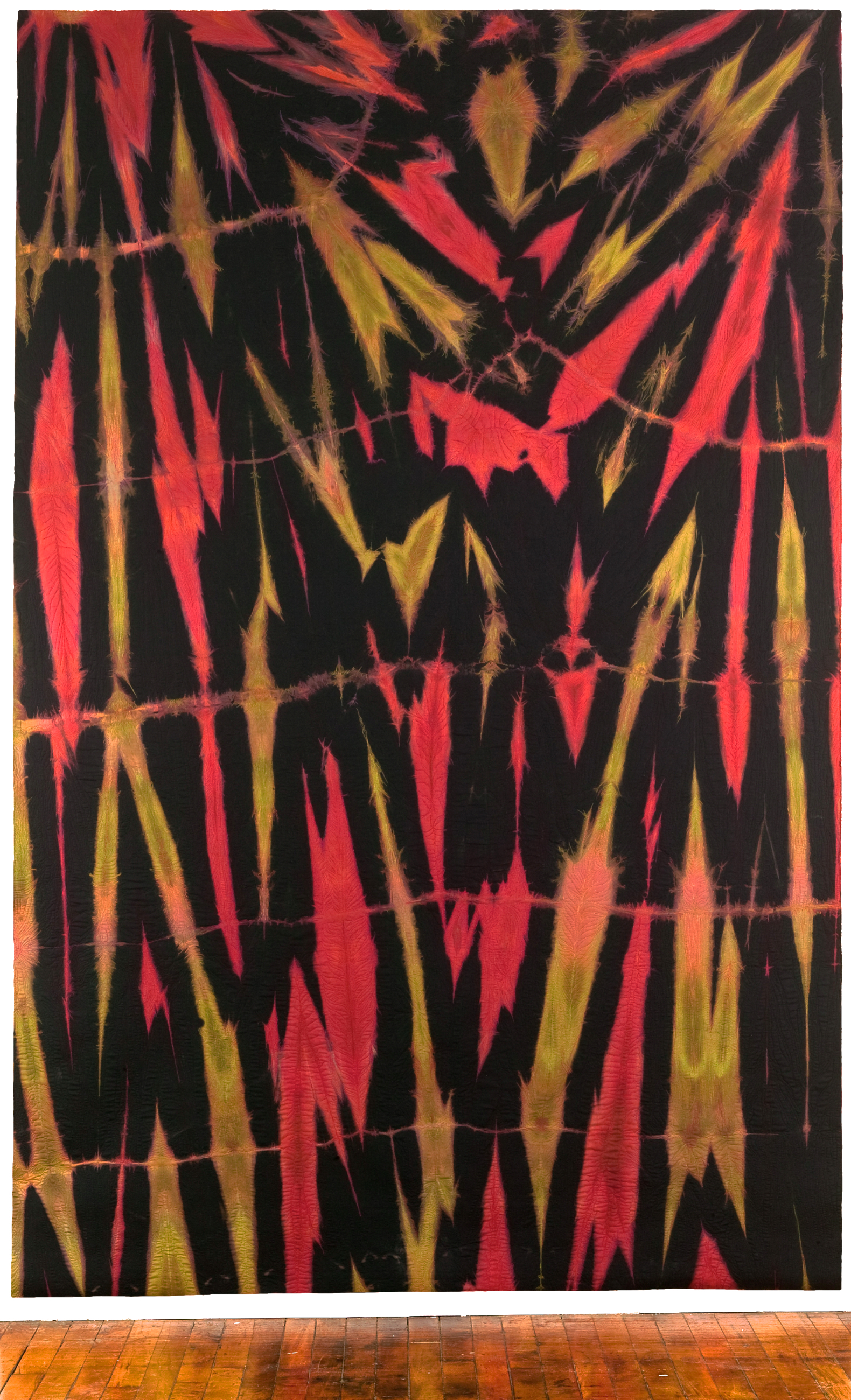 "Fugitive Piece 3     Elin Noble, 2011    136""x87""Dyed Cotton and Machine Embroidered, itajime shibori"