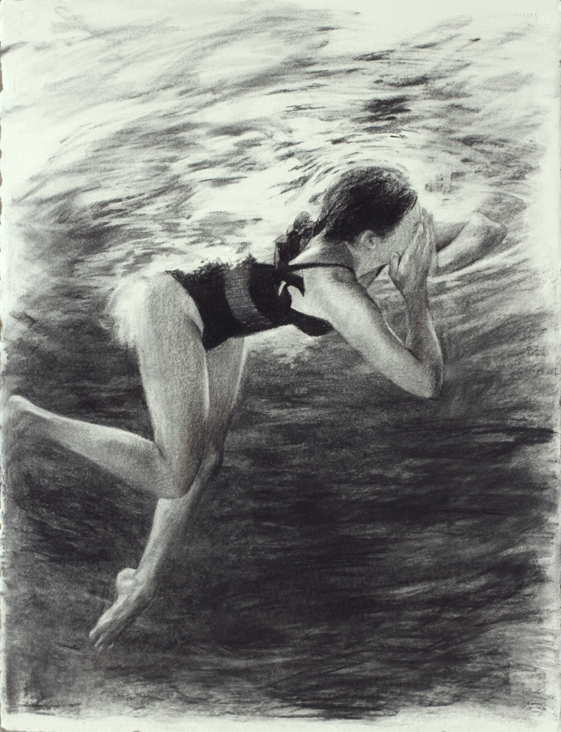 "1 Swimmer #2, 2014, 30 x 22"",   Charcoal on paper"