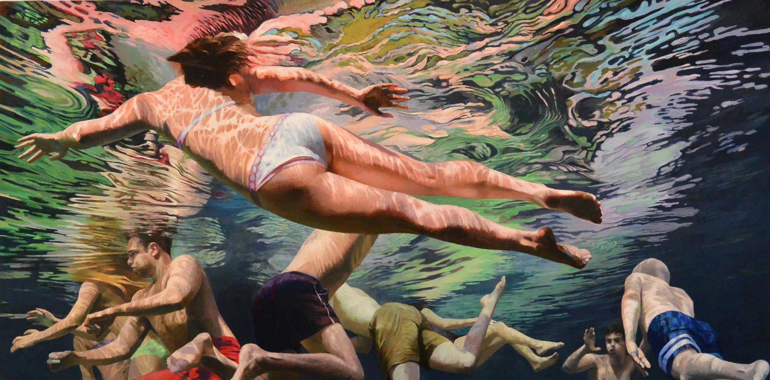 """Cenote Azul #2 , 2014,  36 x 72""""    Acrylic on linen"""