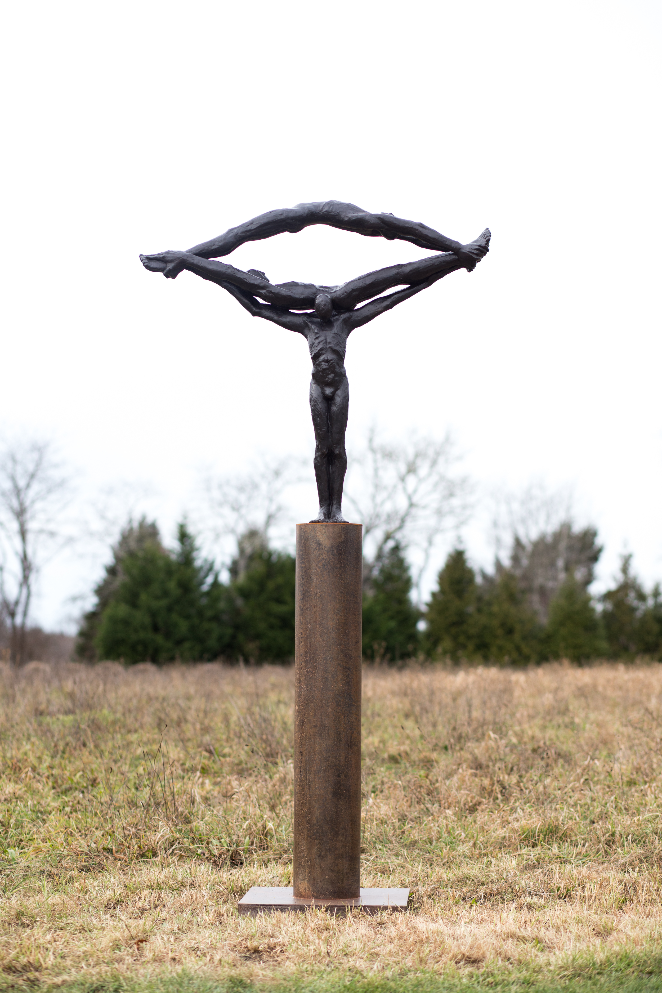 "Fulcrum,  2013,   86 x 47 x 21""    Bronze and steel"