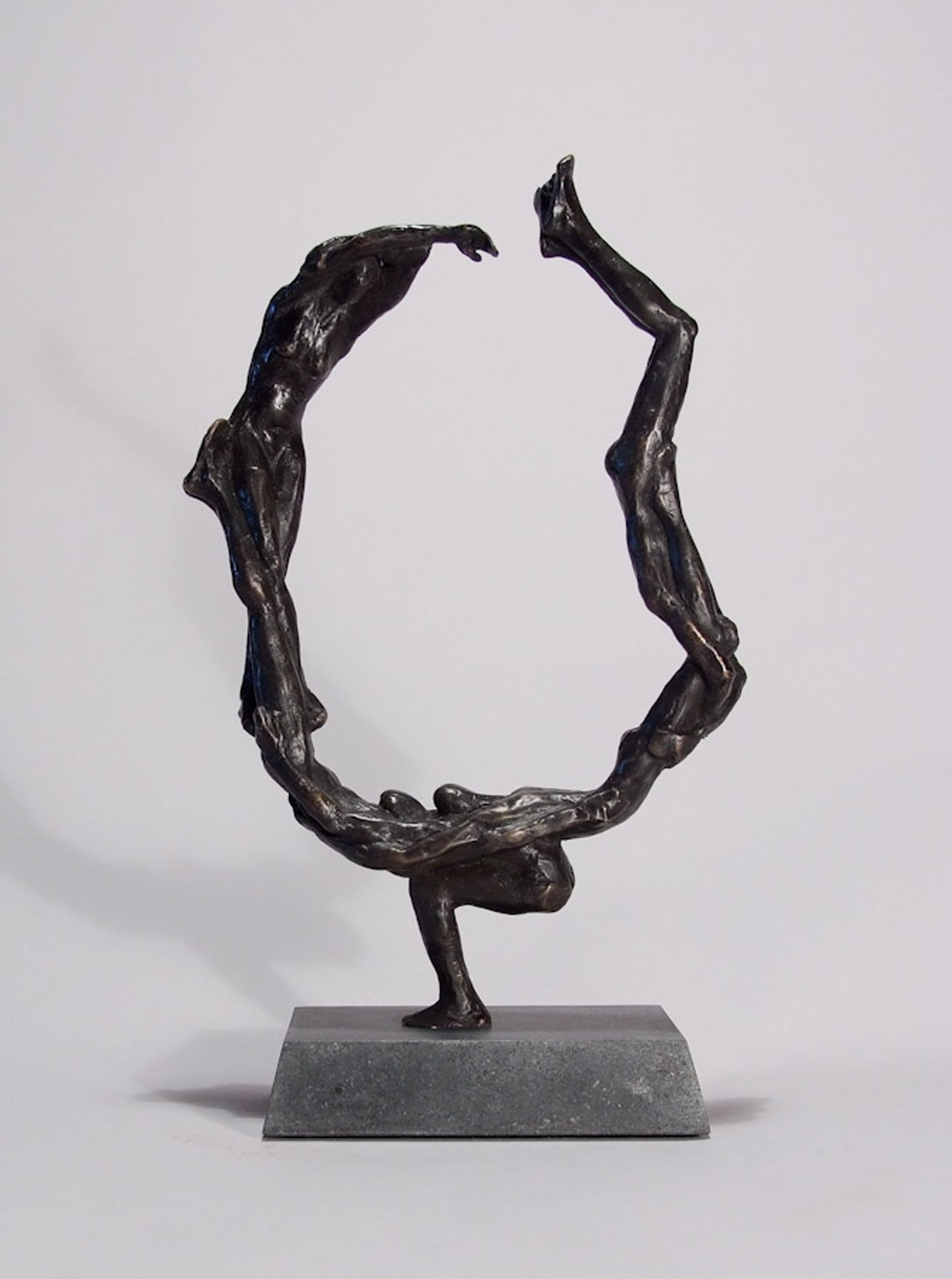 "Oxbow,  2009,   13 x 8 x 3.5""    Bronze and stone"