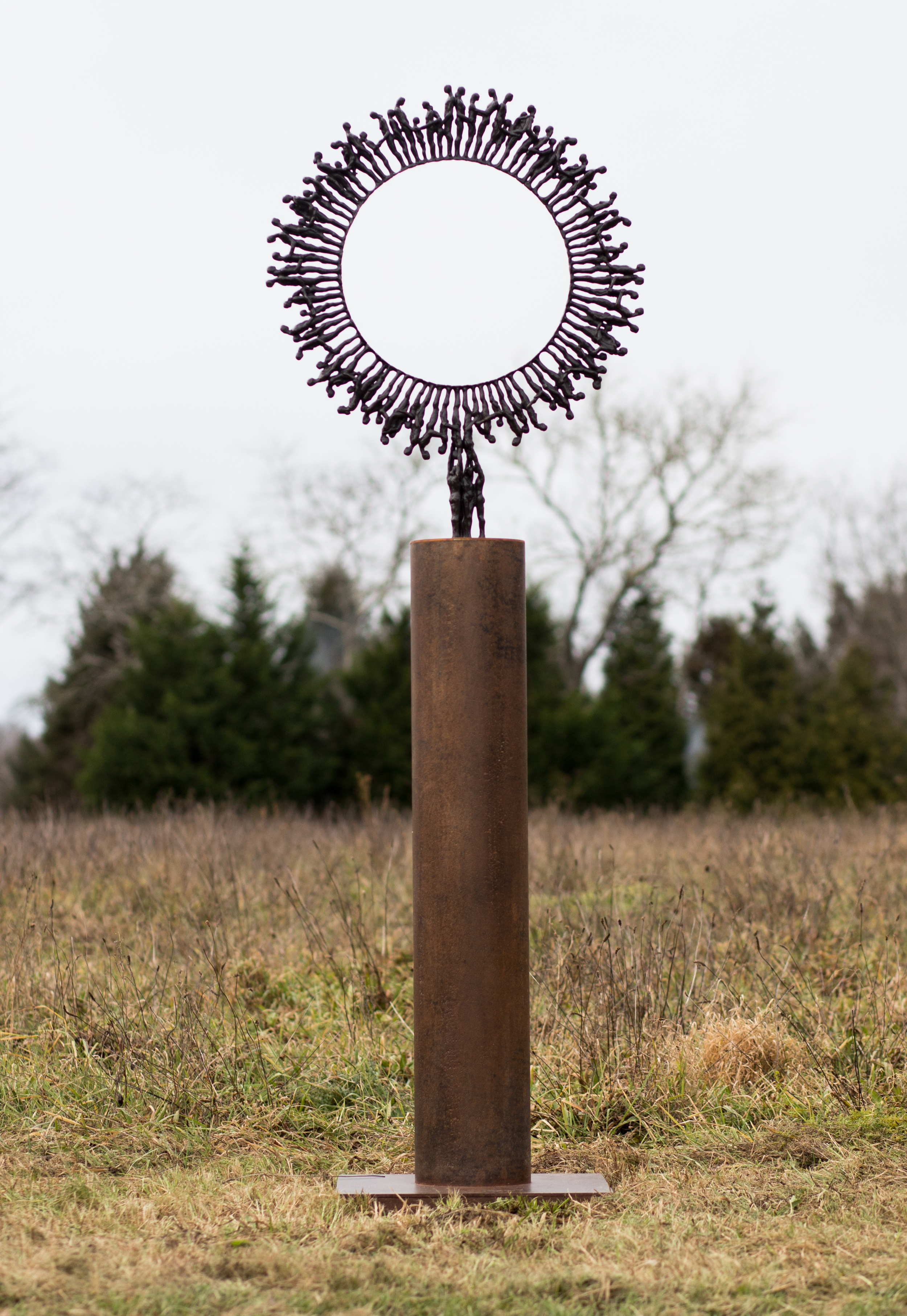 "Ryland's Wheel , 2013,   84 x 27.5 x 21""    Bronze and steel"